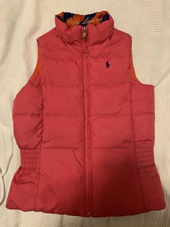 Colete Ralph Lauren reversível (rosa e laranja)