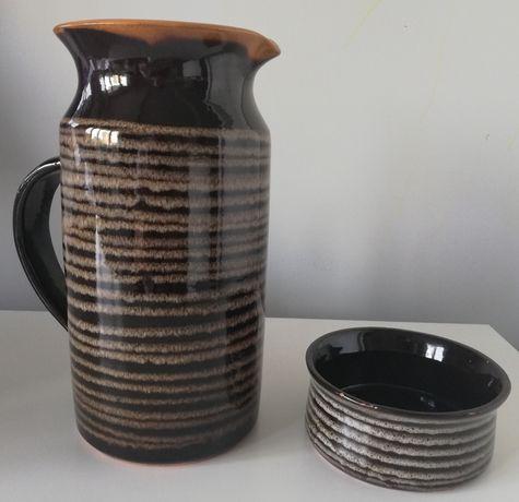 Dzbanek na napoje ceramika tygrys, paski vintage prl design