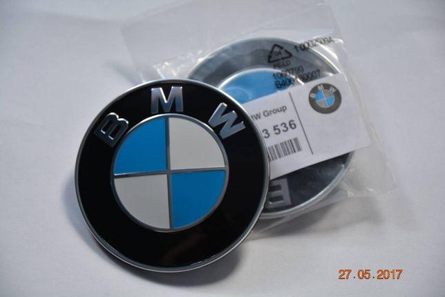 Znaczek emblemat logo BMW maska/klapa 82/74mm Oryginał + kołki .