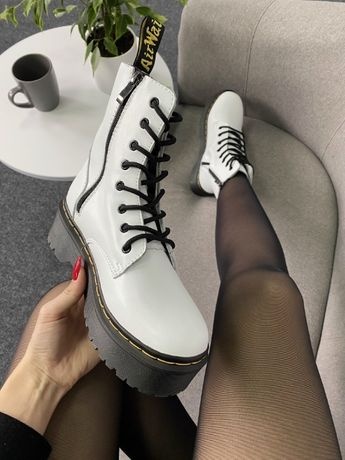 Кожаные ботинки БЕЗ МЕХА Dr.Martens Jadon White/Black 36-41 размер