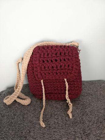 Bordowa, ręcznie wykonana torebka