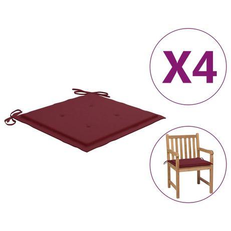 vidaXL Almofadões cadeiras jardim 4pcs 50x50x4cm tecido vermelho tinto 314057