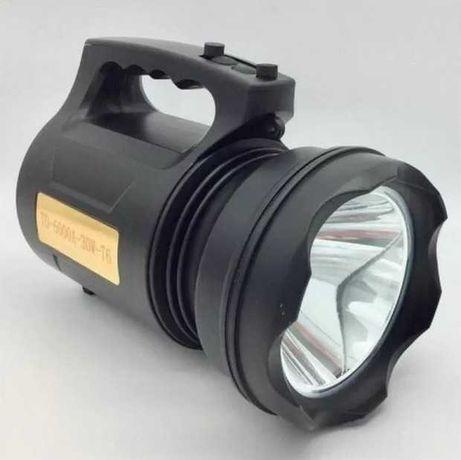 Портативный фонарь td6000a - 30w с аккумулятором и зарядкой от сети
