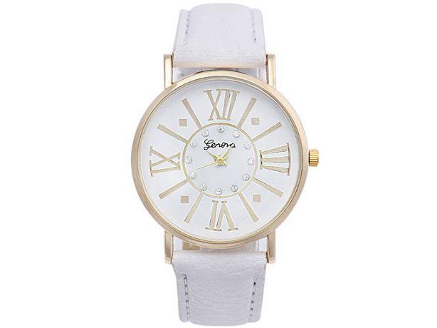 NOWY Zegarek damski Biały Vintage Pasek Materiał Geneva OKAZJA