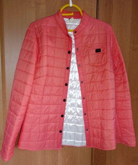 Brzoskwiniowa kurtka pikowana, r. 40