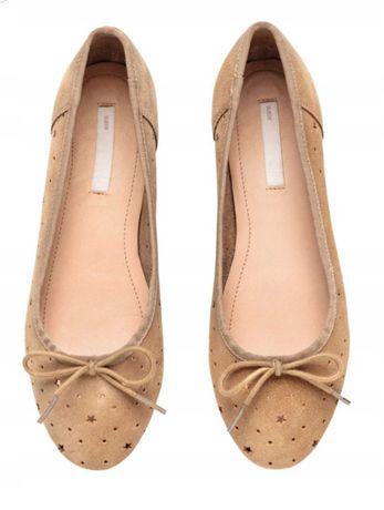 H&M baleriny ażurowe beż skórzane zamsz 34 22cm nowe