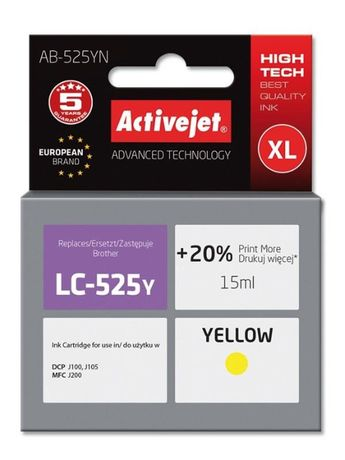 ActivJet Tusz LC525Y J200 J105 J100 do drukarki komplet