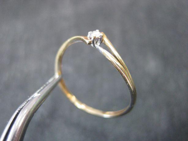 Pierścionek złoto diament brylatnt