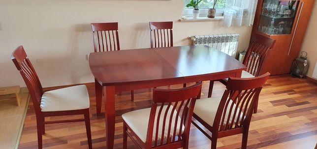 Zestaw komplet do jadalni rozkładany stół + krzesła komplet mebli