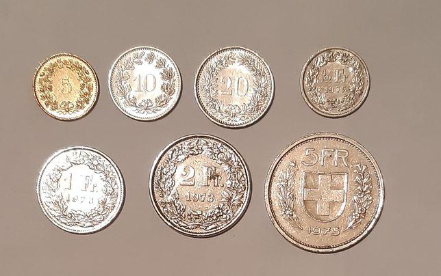 Швейцарские франки полный набор монет