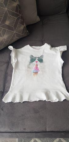 Słodka /Urocza/Koszulka t-shirt /biała/Kot/Rozm.11-12 lat