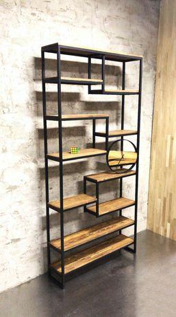Стеллаж этажерка перегородка из натурального дерева мебель лофт