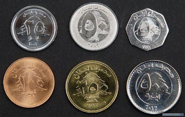 Ливан набор монет 25, 50, 100, 250 и 500 ливров 1996-2012 годов