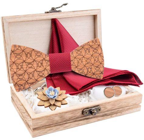 Luksusowa mucha muszka drewno broszka spinki do mankietów poszetka