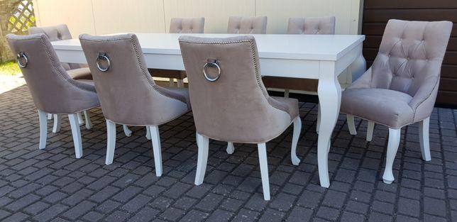 Krzesło pikowane tapicerowane nogi Ludwik z kołatką chesterfield modne