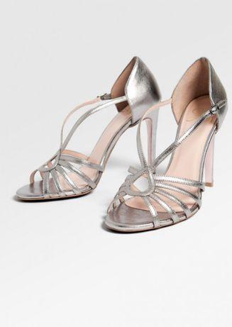 Srebne sandały szpilki długość wkładki 24,5cm