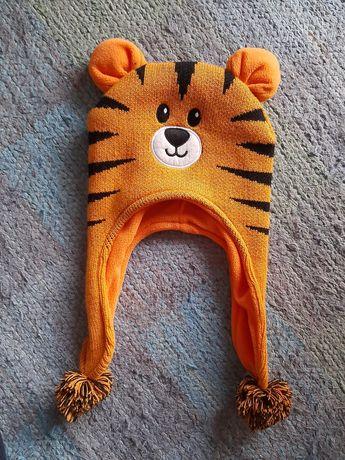 """NOWA czapak zimowa """"Tygrysek"""" z ociepleniem na uszy obwód 52-53 cm"""