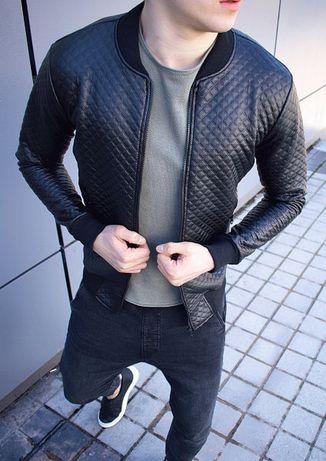 Бомбер мужской кожаный стёганый Люкс качества