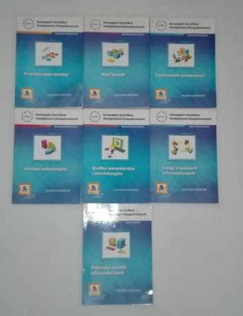ECDL zestaw 7 podręczników do egzaminu na certyfikat