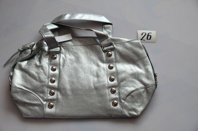 Pojemna srebrna torebka / torba na silownie lub zakupy
