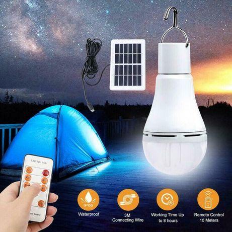 Lâmpada luz LED portátil c/ bateria + painel solar + comando - novo