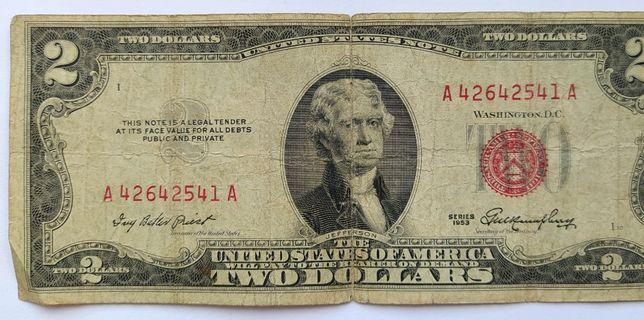 2 доллара банкнота 1953 года, серия А, красная печать