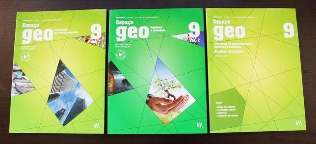 Conjunto completo dos manuais Espaço Geo 9.º Geografia