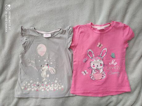 Zestaw dwupak koszulki t-shirt 86 różowe dziewczynka