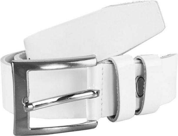 Белый кожаный ремень 115*4см