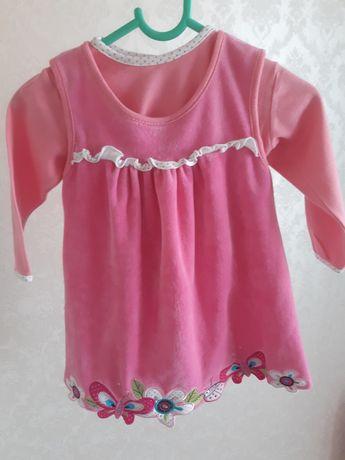 Welurowa sukienka z koszulką 86
