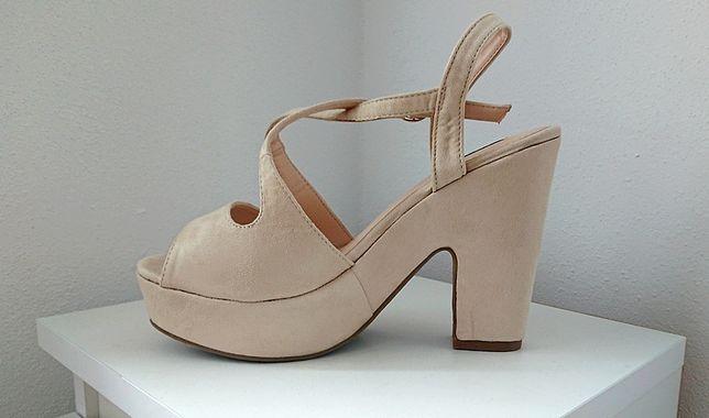 Sandały Vices Beż Platforma Koturn wesele 39