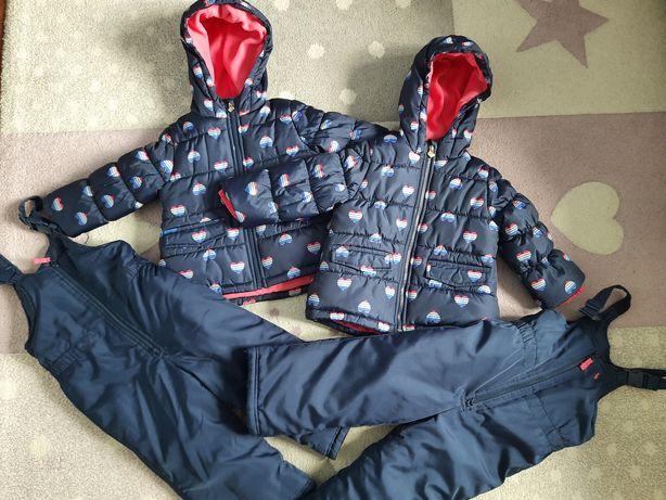 Komplet na zimę kurtka i spodnie narciarskie kombinez dla bliźniaczek