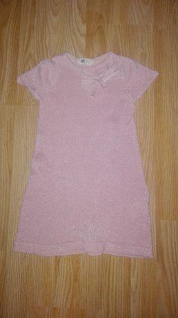 Bluzka dziecieca swiecaca z kokardka H&M jasny róż
