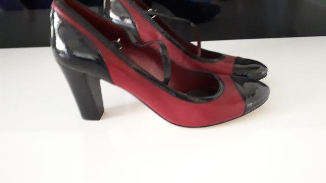 Туфлі комбінація лаку та шкіри
