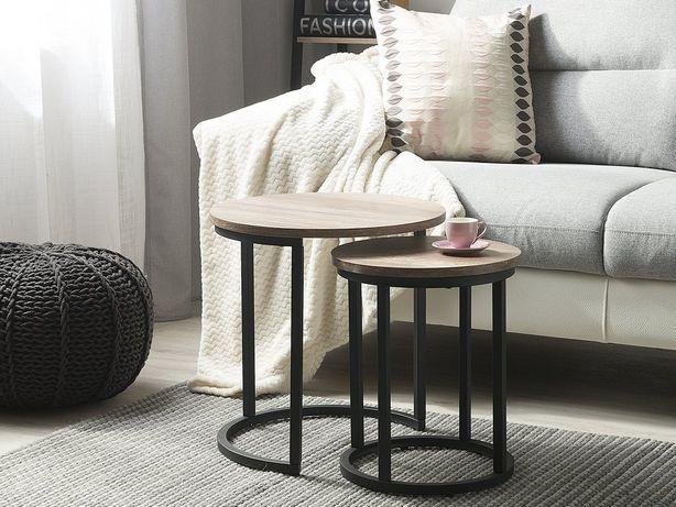 Conjunto de 2 mesas de apoio em preto e castanho DIXIE - Beliani