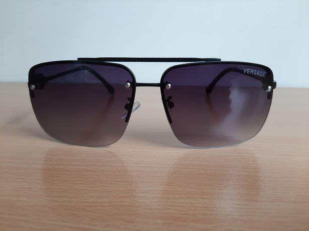 VERSACE okulary przeciwsłoneczne męskie czarne aviator