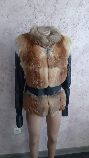 кожаная куртка жилетка натуральная лиса шуба 44-46 кожа