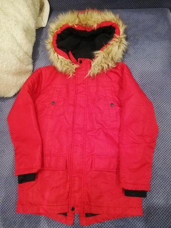 Zimowa kurtka, parka, czerwona chłopiec 140