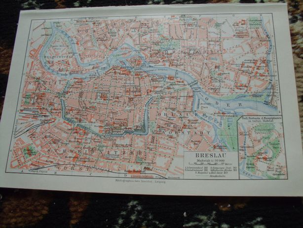 WROCŁAW 1924 r oryginalny plan miasta do aranżacji wnętrza