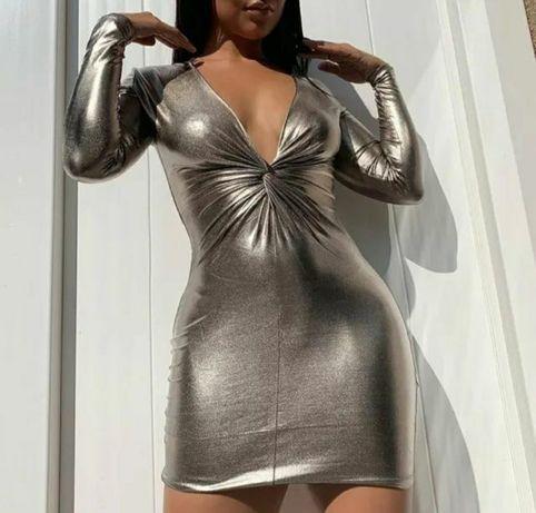 Облегающие платье металлик h&m