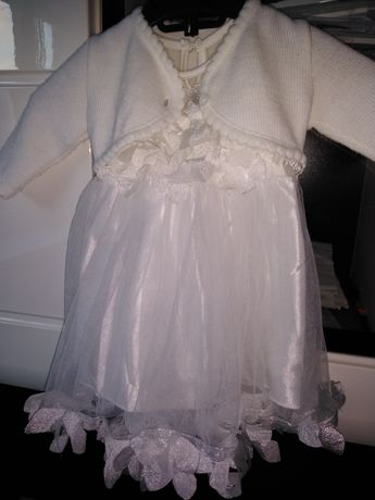 Sukienka biała chrzest, chrzciny, roczek, urodziny