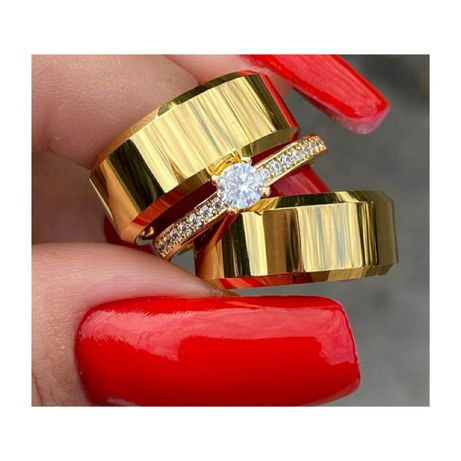 KOMPLET! Elegancka Para Złotych Obrączek Ślubnych + PIERŚCIONEK