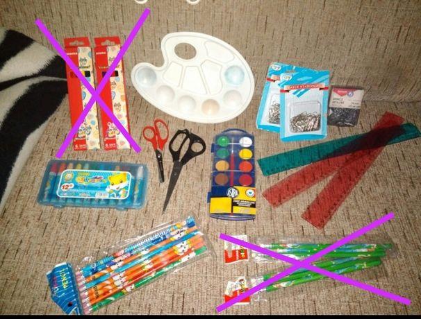 Artykuły szkolne, plastyczne-farby, paleta, pastele i inne