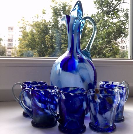 Сервиз ссср кобальтовое цветное стекло графин винный с крышкой+6 чашек