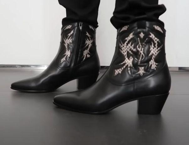 Кожаные сапожки в ковбойском стиле Saint Laurent (оригинал), 39р.