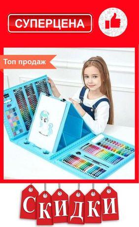 Набор детский для рисования и творчества 208 предметов, с мольбертом