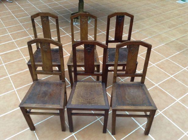 Cadeiras em madeira cara e coroa - ARTE NOVA + 100 anos -Só 6 por 90€