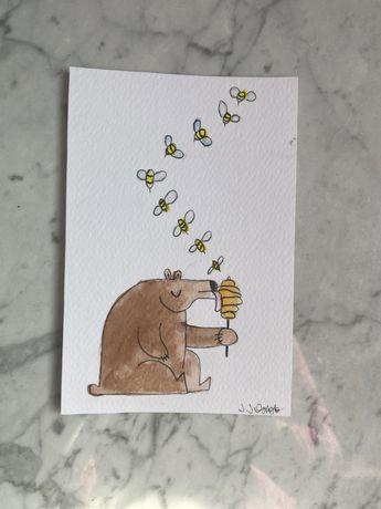 Kartka okolicznościowa miś pszczoła osa ul miód handmade