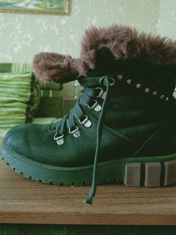 Ботинки натуральный замш  зима
