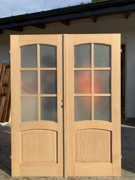 Drzwi dwuskrzydłowe wewnętrzne dębowe OD RĘKI
